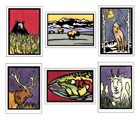 Northwest Animal Collection - 6 Pack - Sarah Angst Art Greeting Cards, Giclee Prints, Jewelry, More