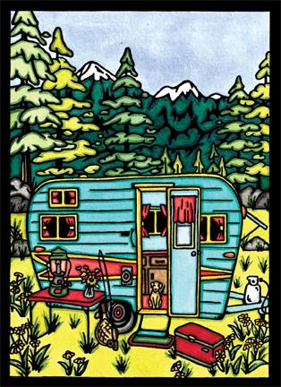 Original - Vintage Camper - Sarah Angst Art Greeting Cards, Giclee Prints, Jewelry, More