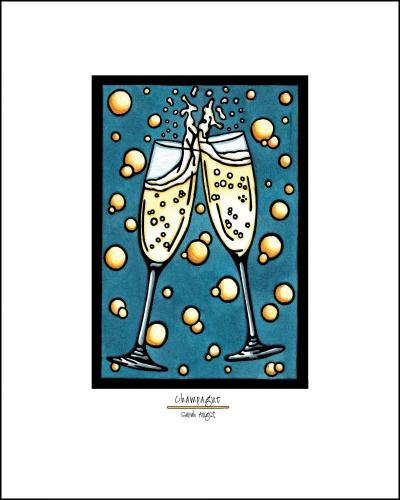 Champange - Simple Giclee Print - Sarah Angst Art Greeting Cards, Giclee Prints, Jewelry, More