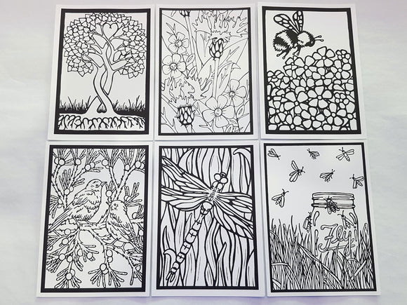 Coloring Cards Collection #2 - 6 Pack - Sarah Angst Art Greeting Cards, Giclee Prints, Jewelry, More