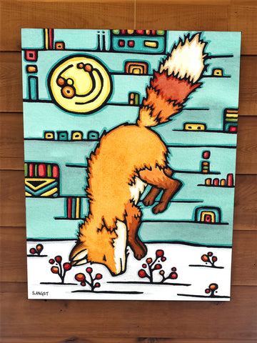 Dive In - Fox Canvas - Sarah Angst Art Greeting Cards, Giclee Prints, Jewelry, More
