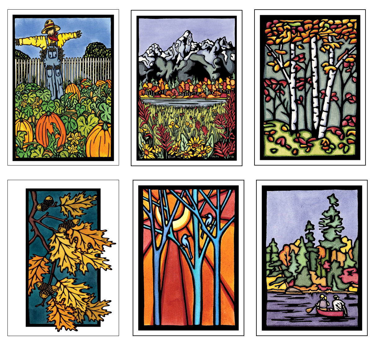 Autumn Collection - 6 Pack - Sarah Angst Art Greeting Cards, Giclee Prints, Jewelry, More