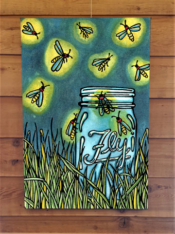 Fireflies Canvas - Sarah Angst Art Greeting Cards, Giclee Prints, Jewelry, More