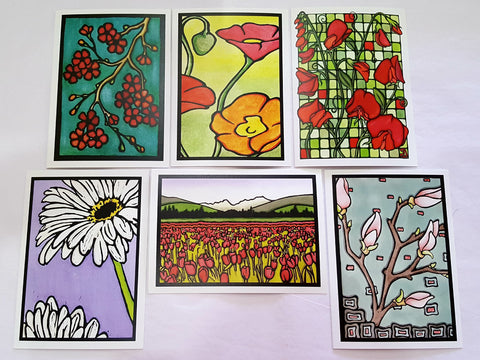 Original Floral Collection - 6 Pack - Sarah Angst Art Greeting Cards, Giclee Prints, Jewelry, More