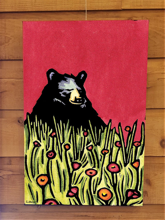 Naptime Bear Canvas - Sarah Angst Art Greeting Cards, Giclee Prints, Jewelry, More