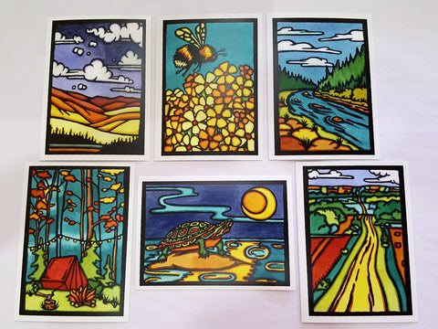 Outdoors Collection - 6 Pack - Sarah Angst Art Greeting Cards, Giclee Prints, Jewelry, More