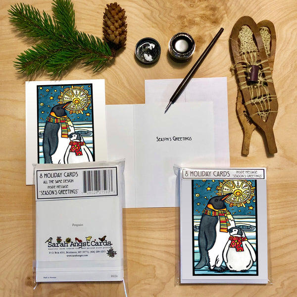 Penguins - Packaged Christmas Cards - Sarah Angst Art Greeting Cards, Giclee Prints, Jewelry, More