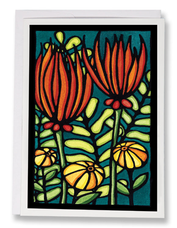 Fiery Flowers - Sarah Angst Art Greeting Cards, Giclee Prints, Jewelry, More