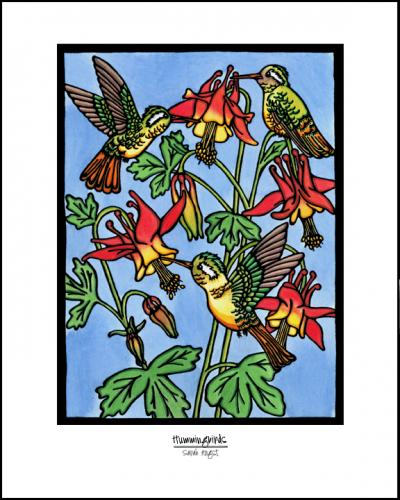 Hummingbirds - Simple Giclee Print - Sarah Angst Art Greeting Cards, Giclee Prints, Jewelry, More