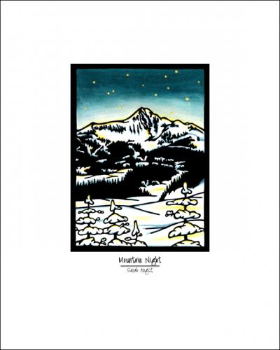 Mountain Night - Simple Giclee Print - Sarah Angst Art Greeting Cards, Giclee Prints, Jewelry, More