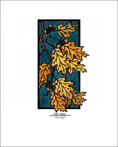 Oak Leaves - Simple Giclee Print - Sarah Angst Art Greeting Cards, Giclee Prints, Jewelry, More