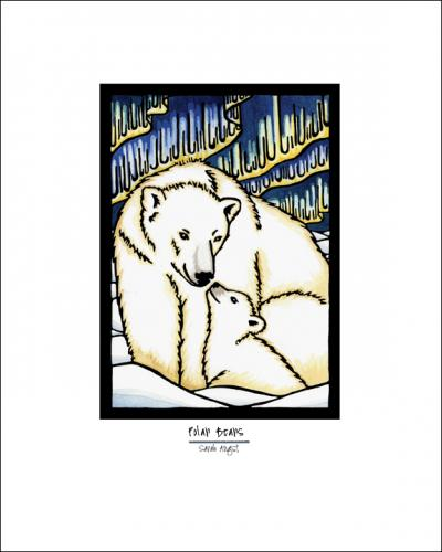 Polar Bears - Simple Giclee Print - Sarah Angst Art Greeting Cards, Giclee Prints, Jewelry, More