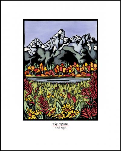Tetons - Simple Giclee Print - Sarah Angst Art Greeting Cards, Giclee Prints, Jewelry, More