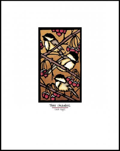 Three Chickadees - Simple Giclee Print - Sarah Angst Art Greeting Cards, Giclee Prints, Jewelry, More