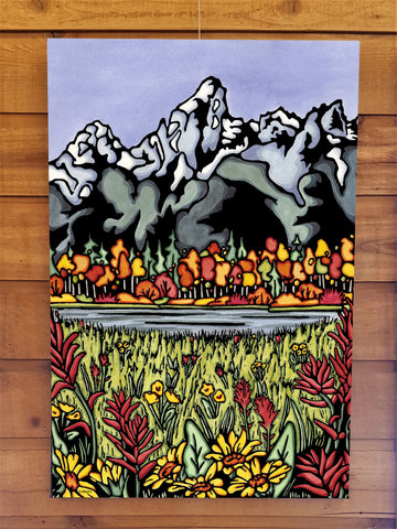The Tetons Canvas - Sarah Angst Art Greeting Cards, Giclee Prints, Jewelry, More