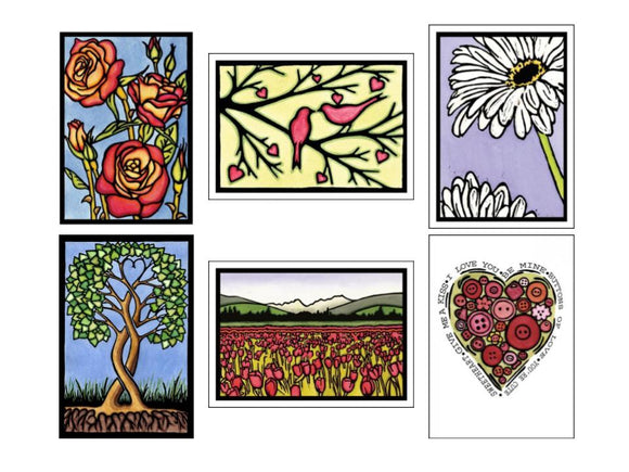Valentine Collection - 6 Pack - Sarah Angst Art Greeting Cards, Giclee Prints, Jewelry, More