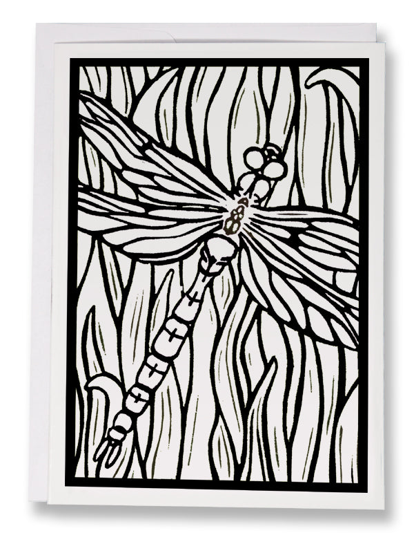 Color Your Own Dragonfly Card - Sarah Angst Art Greeting Cards, Giclee Prints, Jewelry, More