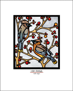 Cedar Waxwings - Simple Giclee Print