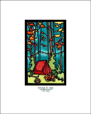 "Evening at Camp - 8""x10"" Overstock - Sarah Angst Art Greeting Cards, Giclee Prints, Jewelry, More"
