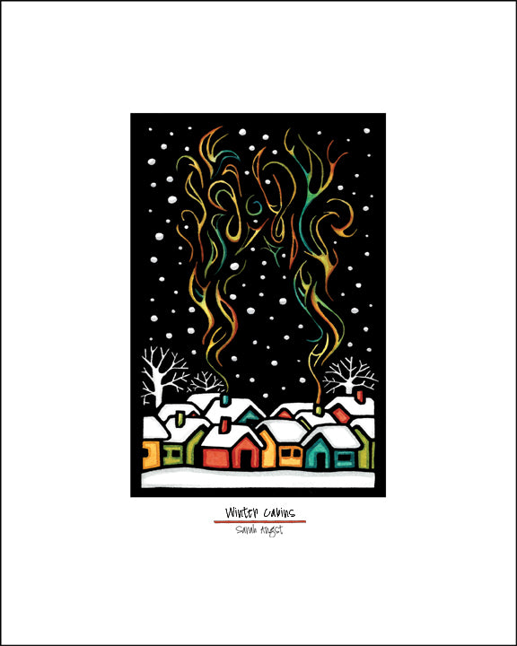 Winter Cabins - Simple Giclee Print