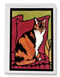 SA001: Calico Cat - Sarah Angst Art Greeting Cards, Giclee Prints, Jewelry, More