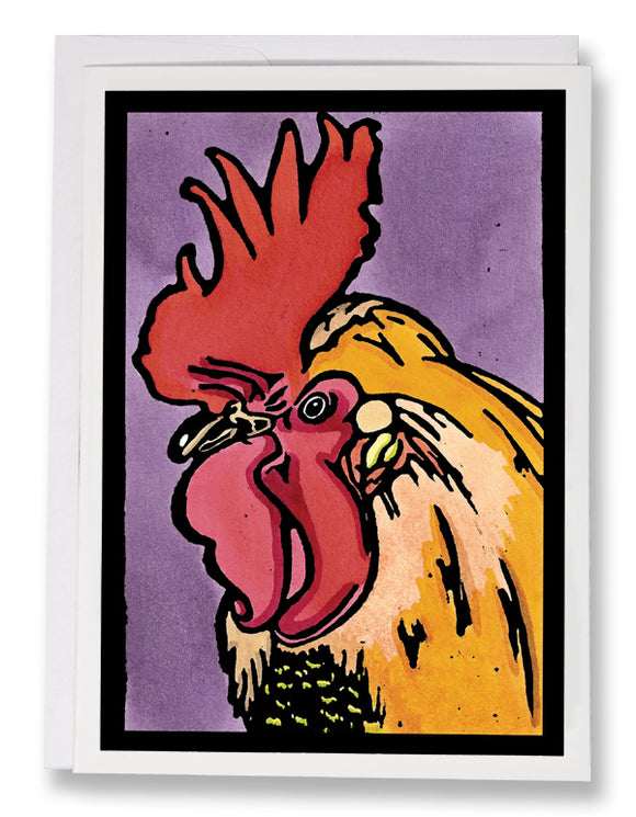 SA006: Rooster - Sarah Angst Art Greeting Cards, Giclee Prints, Jewelry, More