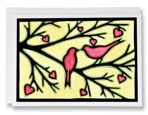 SA013: Love Birds - Sarah Angst Art Greeting Cards, Giclee Prints, Jewelry, More