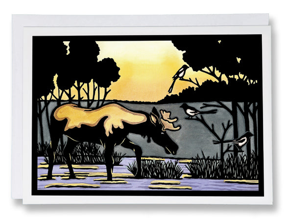 SA015: Moose & Magpie - Sarah Angst Art Greeting Cards, Giclee Prints, Jewelry, More