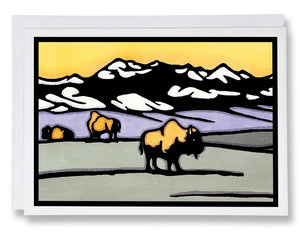 On the Range Bison - 017 - Sarah Angst Art Greeting Cards, Giclee Prints, Jewelry, More