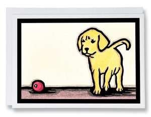 SA018: Play Ball Puppy - Sarah Angst Art Greeting Cards, Giclee Prints, Jewelry, More