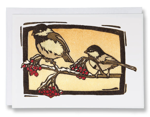 SA020: Chickadees - Sarah Angst Art Greeting Cards, Giclee Prints, Jewelry, More