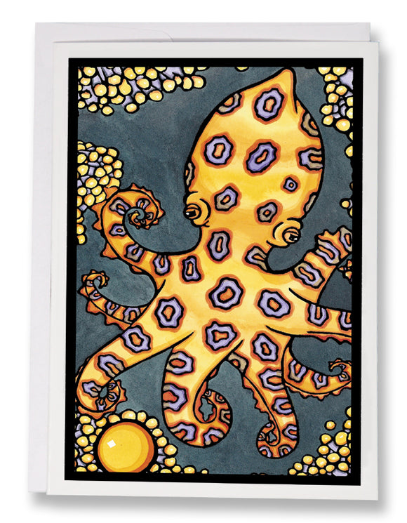 SA026: Octopus - Sarah Angst Art Greeting Cards, Giclee Prints, Jewelry, More