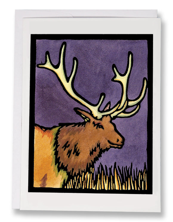SA029: Elk - Sarah Angst Art Greeting Cards, Giclee Prints, Jewelry, More