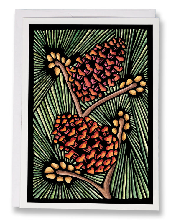 SA046: Pine Cones - Sarah Angst Art Greeting Cards, Giclee Prints, Jewelry, More