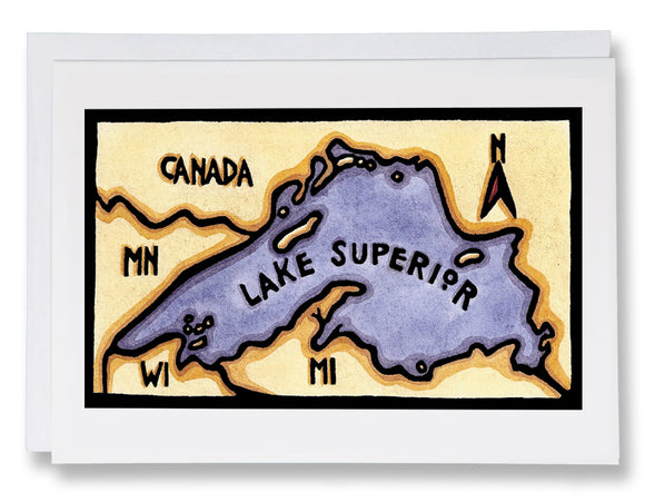 SA059: Lake Superior Map - Sarah Angst Art Greeting Cards, Giclee Prints, Jewelry, More