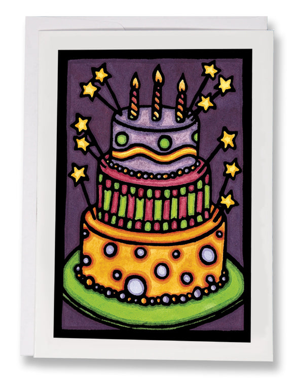 SA076: Birthday Cake - Sarah Angst Art Greeting Cards, Giclee Prints, Jewelry, More