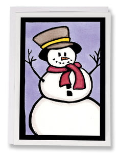 SA086: Snowman - Sarah Angst Art Greeting Cards, Giclee Prints, Jewelry, More