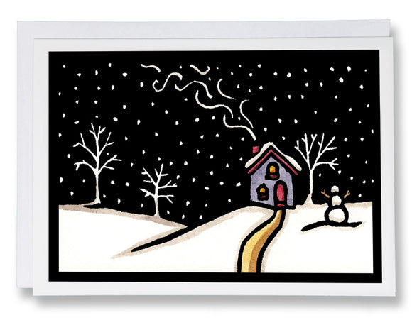 SA090: In for the Night - Sarah Angst Art Greeting Cards, Giclee Prints, Jewelry, More