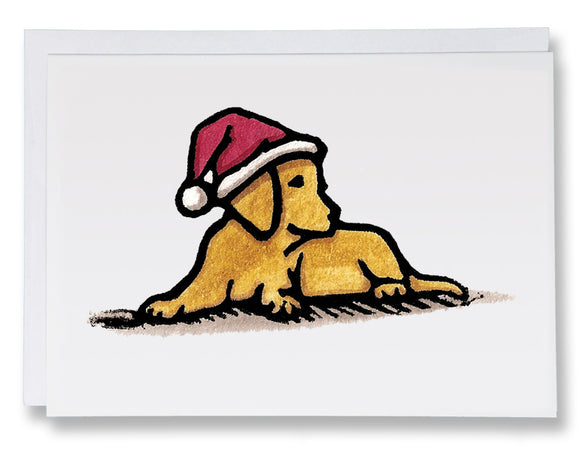 SA093: Santa's Pup - Sarah Angst Art Greeting Cards, Giclee Prints, Jewelry, More