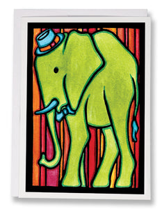 SA097: Elephant - Sarah Angst Art Greeting Cards, Giclee Prints, Jewelry, More