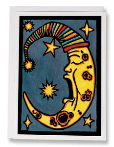 SA104: Yawning Moon - Sarah Angst Art Greeting Cards, Giclee Prints, Jewelry, More