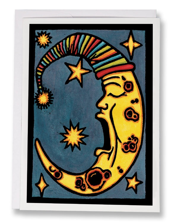 Yawning Moon - 104 - Sarah Angst Art Greeting Cards, Giclee Prints, Jewelry, More