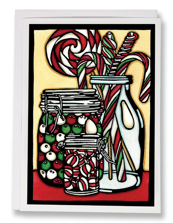 SA109: Christmas Candy - Sarah Angst Art Greeting Cards, Giclee Prints, Jewelry, More