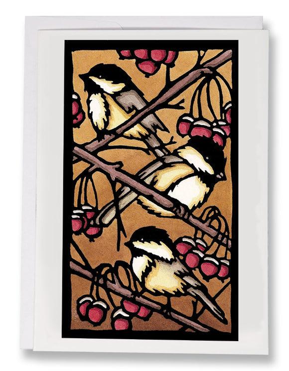SA112: Three Chickadees - Sarah Angst Art Greeting Cards, Giclee Prints, Jewelry, More