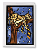 SA150: Bobcat in Tree - Sarah Angst Art Greeting Cards, Giclee Prints, Jewelry, More