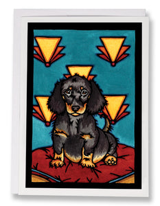 SA152: Dachshund Puppy - Sarah Angst Art Greeting Cards, Giclee Prints, Jewelry, More