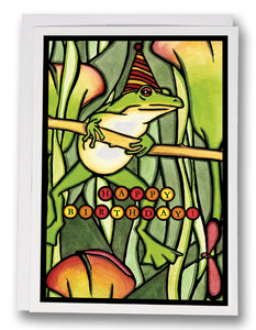 SA156: Birthday Frog - Sarah Angst Art Greeting Cards, Giclee Prints, Jewelry, More