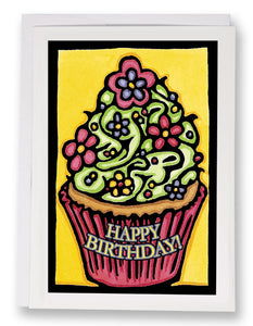 SA157: Birthday Cupcake - Sarah Angst Art Greeting Cards, Giclee Prints, Jewelry, More