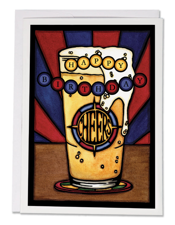 SA158: Birthday Beer - Sarah Angst Art Greeting Cards, Giclee Prints, Jewelry, More