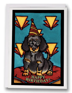 SA159: Birthday Dachshund - Sarah Angst Art Greeting Cards, Giclee Prints, Jewelry, More